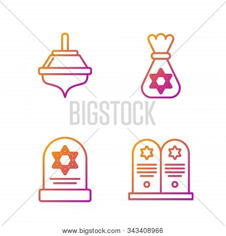 Set Line Tombstone With Star Of David, Tombstone With Star Of David, Hanukkah Dreidel And Jewish Mon