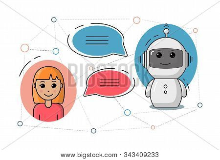 Chatbot With Girl And Speech Bubbles Vector Illustration. Cute Chat Bot Or Chatterbot Support Concep