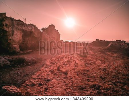 Paphos Archaeological Park. Sunset In Paphos Archaeological Park, Republic Of Cyprus. View Of The An