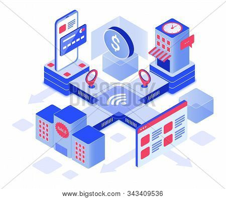 Online Shopping Isometric Vector Illustration. Retail Business. Consumerism And Commerce. Ordering G