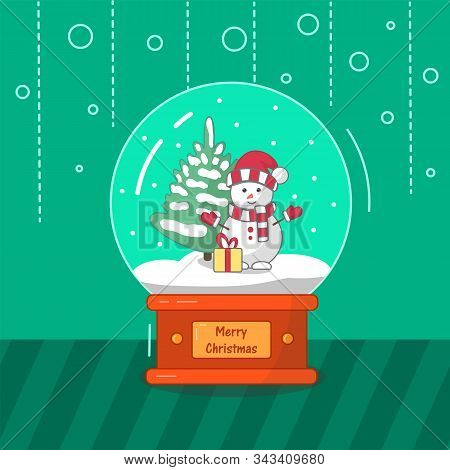 Merry Christmas Glass Globe Ball With Snowman Xmas Tree. Vector Illustration