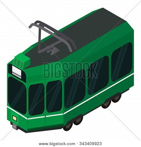 Green Tram Car Icon. Isometric Of Green Tram Car Vector Icon For Web Design Isolated On White Backgr