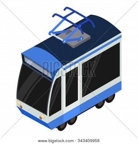Modern Tram Car Icon. Isometric Of Modern Tram Car Vector Icon For Web Design Isolated On White Back