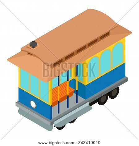 Retro Tram Car Icon. Isometric Of Retro Tram Car Vector Icon For Web Design Isolated On White Backgr