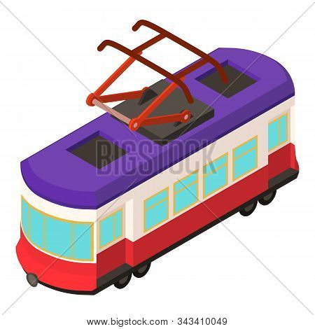 City Tram Car Icon. Isometric Of City Tram Car Vector Icon For Web Design Isolated On White Backgrou