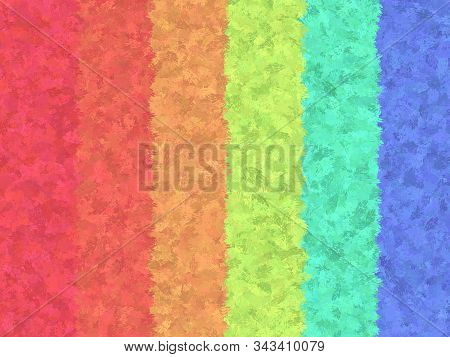 Raibow Stripes Vertical Jungle Theme Watercolor Paint Fabric Wool Fur Pattern, Feather Texture Carpe