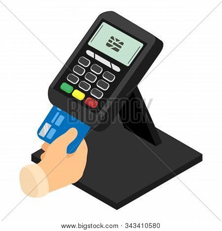 Pos Terminal Icon. Isometric Of Pos Terminal Vector Icon For Web Design Isolated On White Background