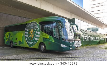 Lisboa, Portugal - April 2018:  Club Buses At Jose Alvalado Arena - The Official Playground Of Fc Sp