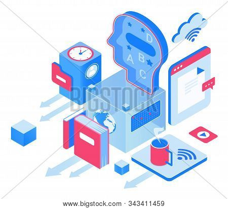 Education And Knowledge Isometric Vector Illustration. Webinars And Courses. Digital Access To Infor