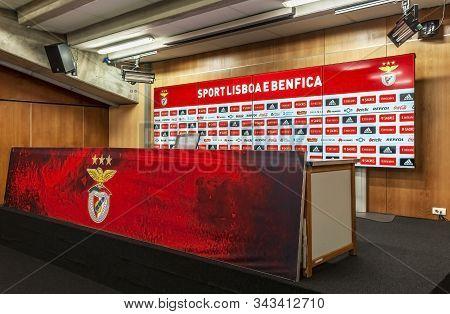 Lisboa, Portugal - April 2018: Press Conference Room At  Estadio Da Luz - The Official Playground Of