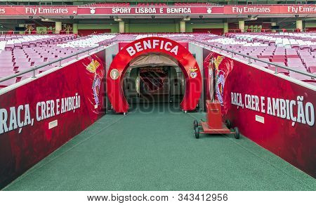 Lisboa, Portugal - April 2018: Exit Onto The Grounds At  Estadio Da Luz - The Official Playground Of