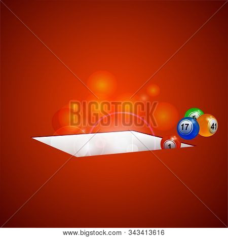 3d Illustration Of Bingo Lottery Balls Falling Into A Rectangular Glowing Hole Over Red Background