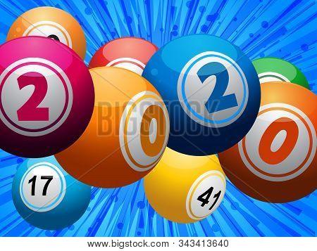 Twenty Twenty 2020 Bingo Lottery Balls With Date Over Blue Star Burst Background