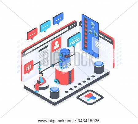 Chat Bot Service Isometric Vector Illustration. Virtual Helper. Ai Assistance And Consultation. Cust