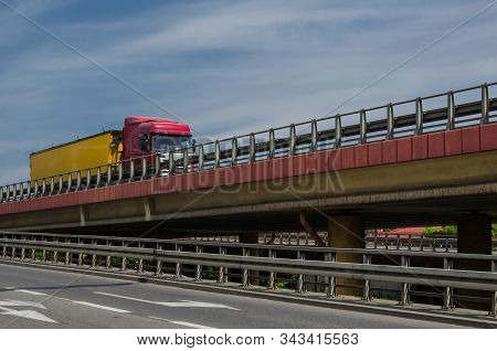 Transport And Infrastructure - Truck With Cargo On The Flyover