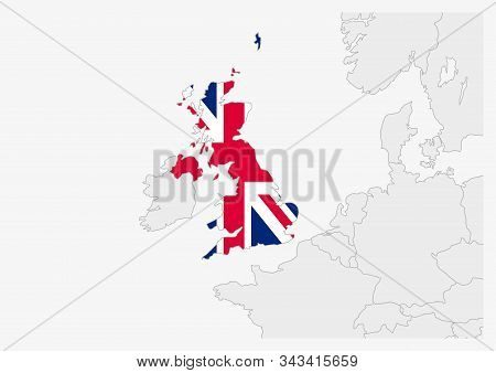 United Kingdom Map Highlighted In United Kingdom Flag Colors, Gray Map With Neighboring Countries.