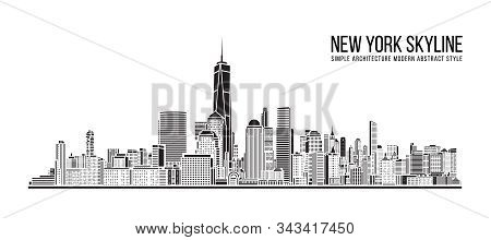 Cityscape Building Simple Architecture Modern Abstract Style Art Vector Illustration Design - New Yo