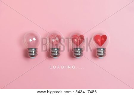 Red Hearts In Light Bulbs. Loading Progress Bar On Pink Background.