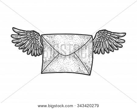 Letter Message Flying On Wings Sketch Engraving Vector Illustration. T-shirt Apparel Print Design. S