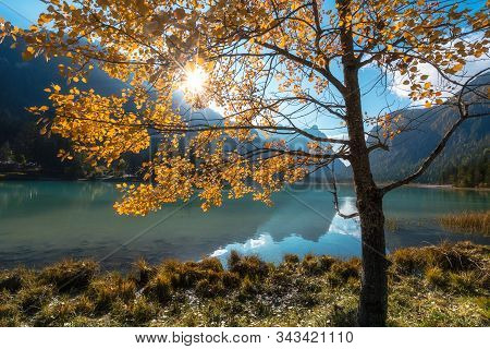 Italy. Apls. Dolomites Landscape With Small Lake