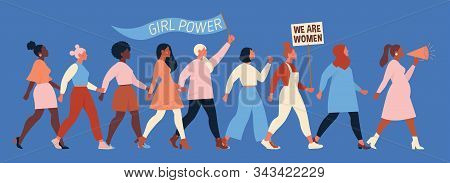 International Womens Day. Vector Illustration With Women Different Nationalities And Cultures. Strug