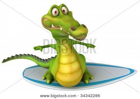 Crocodile surfing poster