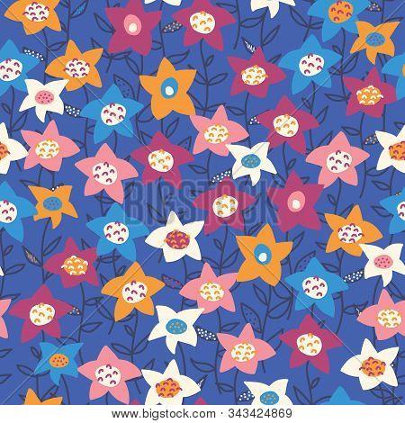 Hand Drawn Vector Flower Field Orange Purple White Blue Pattern. Seamless Floral Background. Summer