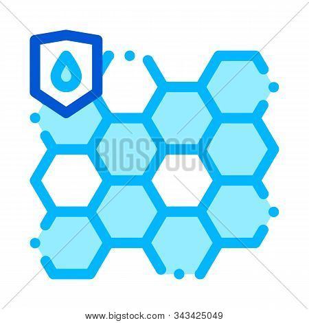 Waterproof Biometrical Material Vector Line Icon. Waterproof Nano Material For Protect Things From W
