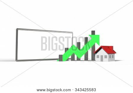 Growth Real Estate Concept. Business Graph With House  And Blank Screen Mobile Phone. 3d Illustratio