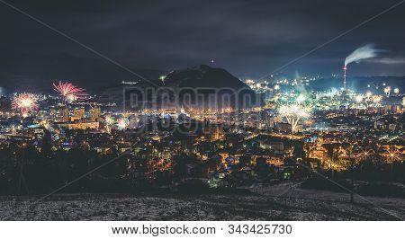 Ruzomberok, Slovakia - January 1: Fireworks Over The Town Ružomberok At January 1, 2020 In Ruzombero