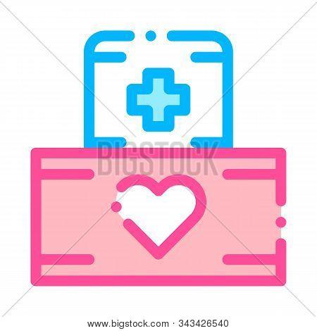 Volunteers Support Medikit Vector Thin Line Icon. Volunteers Support, Help Charitable Organizations,