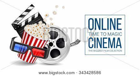 Cinematograph Concept Banner Design Template With Movie Clapper Board, Popcorn In The Striped Bag, F
