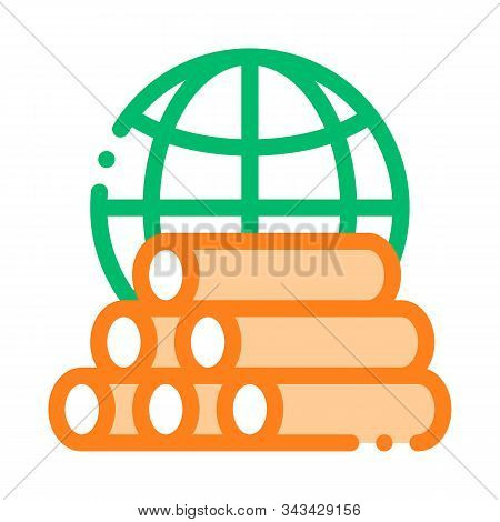 Tubes Planet Earth Problem Vector Thin Line Icon. Tubing Produce Metal Spout Environmental Problem,