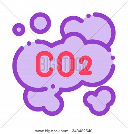 Co2 Smoulder Smoke Steam Air Vector Thin Line Icon. Carbonic Oxide Dirty Air Environmental Pollution