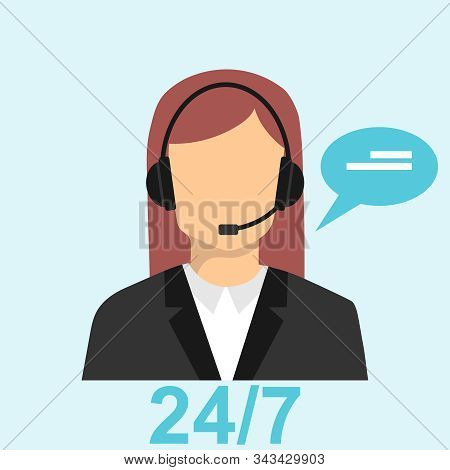 Call Center Icon. Customer Service And Support Center. Call Center Operator. Vector Illustration.