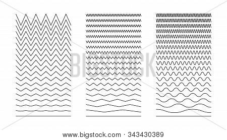 Wavy Curved And Zigzag Collection. Set Of  Horizontal Lines. Wave Line And Wavy Zigzag Lines. Set Of