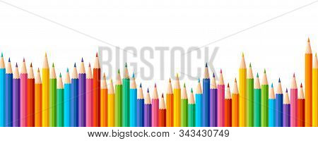 Pencils Colored In A Row With Wave On Lower Side. Panorama View. Banner Or Poster With Colored Crayo