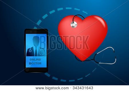 Doctor Online Medical App Mobile Applications. Digital Healthcare Medicine Diagnosis Concept Banner.