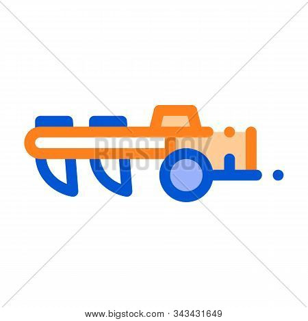 Agricultural Cultivator Vector Thin Line Icon. Tractor Cultivator Hindi Carriage. Machinery Transpor