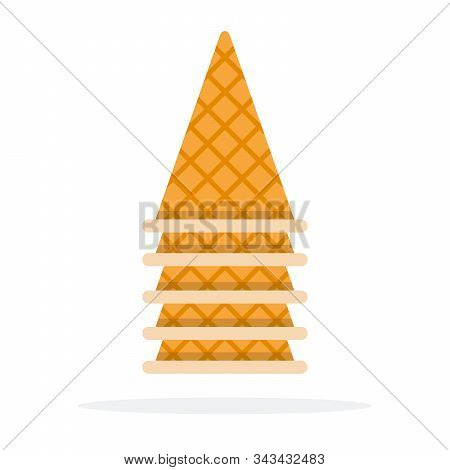 Inverted Empty Wafer Cones For Ice Cream Vector Flat Isolated