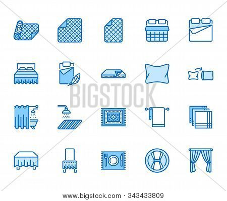 Linen Flat Line Icons Set. Bedroom Textile Blanket, Bed Mattress Cover, Pillow, Pillowcase, Handkerc