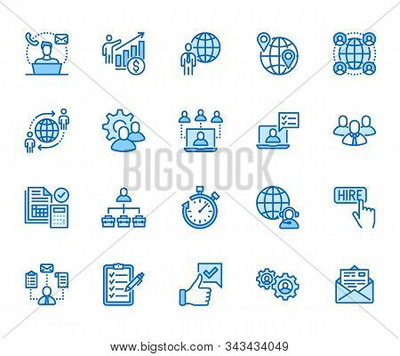 Outsource Flat Line Icons Set. Recruitment, Partnership, Teamwork, Freelancer, Part And Full-time Jo