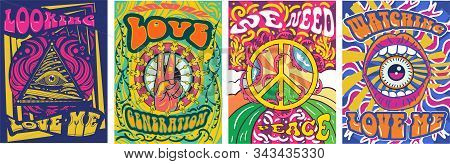Vibrant Colorful We Need Peace Design In Retro Hippie Style With Peace Symbol And Text Over Abstract