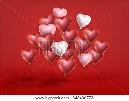 Group Of Soaring Red White Pink Helium Balloons On Red Background. Valentines Day, Christmas, Birthd