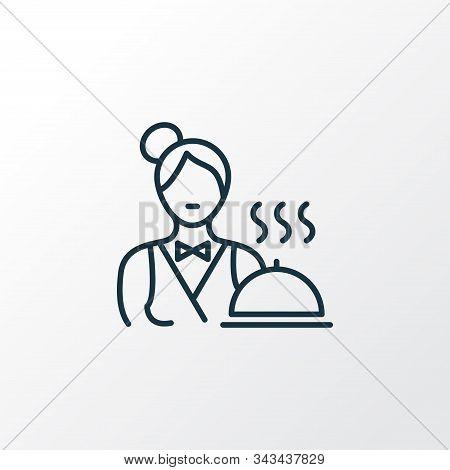 Servant Icon Line Symbol. Premium Quality Isolated Waiter Woman Element In Trendy Style.