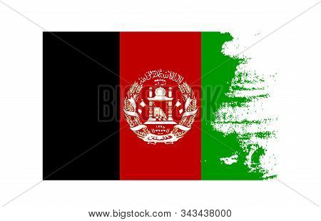 Grunge Texture Afghanistan Country Flag National Symbol. Scratched Or Scratchy Concept. Suitable As