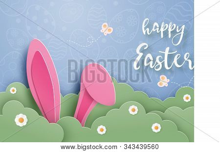 Happy Easter Day Background With Bunny Hide In Grass In Paper Cut Style. Digital Craft Paper Art.