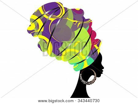 Portrait Beautiful African Woman In Traditional Turban, Kente Head Wrap African, Traditional Dashiki