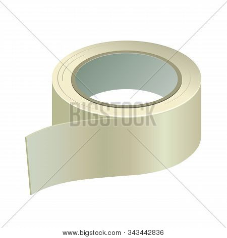 Gaffer Adhesive Sticky Duct Tape. Silver, Gray Fix Plastic Scotch Roll. Vector