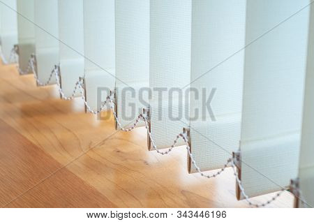 Close Up Vertical Blind For The Office Room Decoration. Design Of Curtain Bright For Interior Office